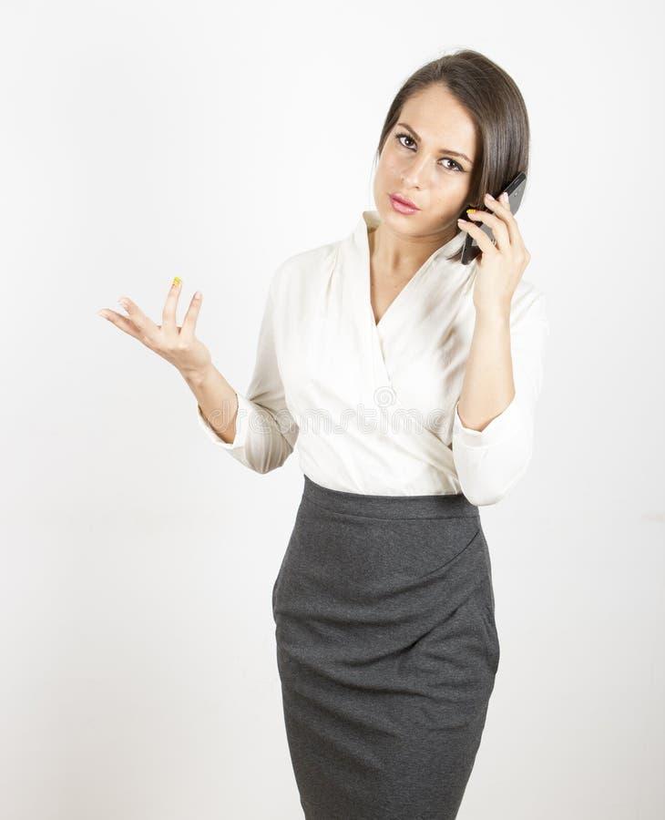 Conversa telefônica da mulher de negócio fotos de stock royalty free