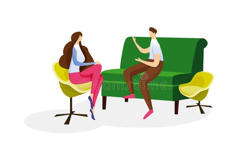 Conversación caliente de los pares de amor del hombre y de la mujer stock de ilustración