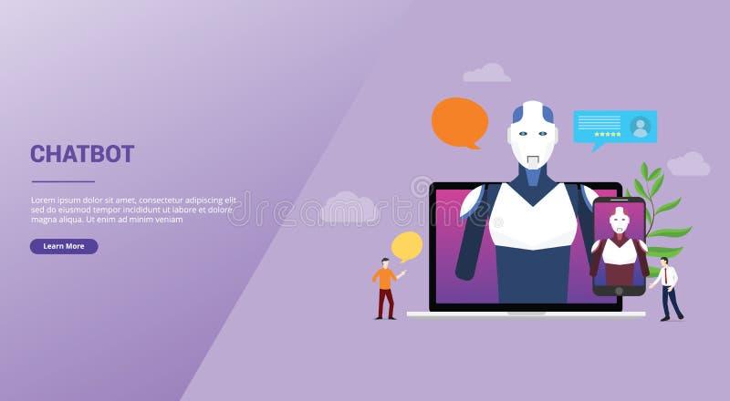 Conversación de la charla del robot de la inteligencia artificial de la tecnología de Chatbot sobre los apps del ordenador portát libre illustration