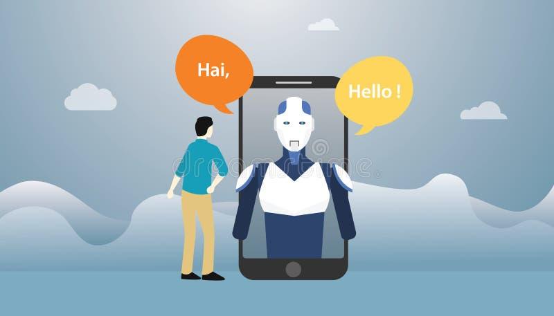 Conversación de la charla del robot de la inteligencia artificial de la tecnología de Chatbot sobre los apps del smartphone con e libre illustration