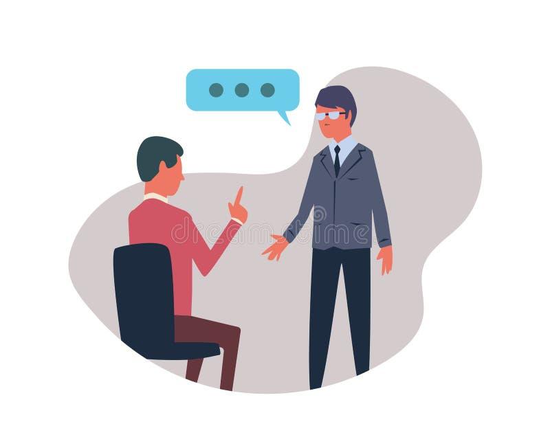 Conversación entre dos personas Ejemplo del vector, aislado en el fondo blanco libre illustration