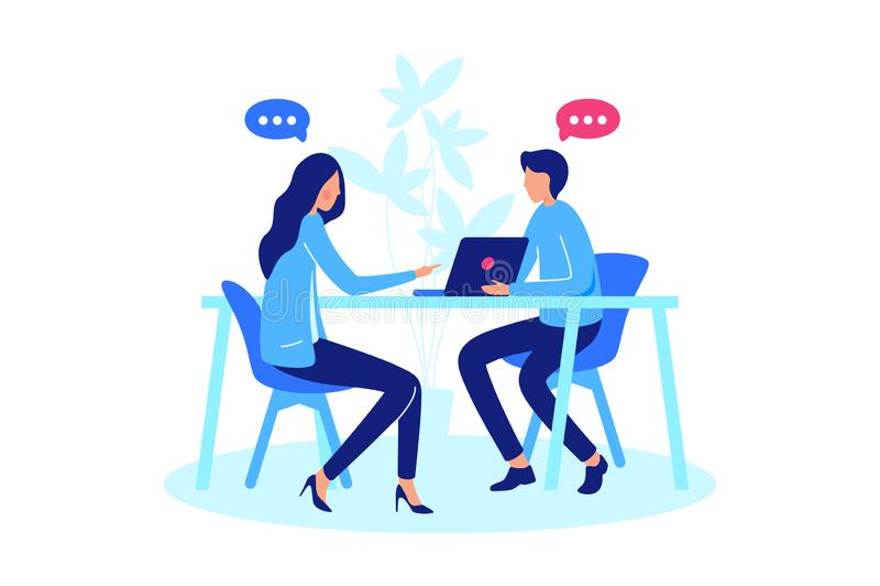 Conversación entre para dos personas stock de ilustración