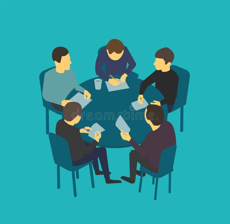 Conversaciones de sobremesa de la empresa pequeña Hombres de negocios del equipo que hacen frente a conferencia stock de ilustración