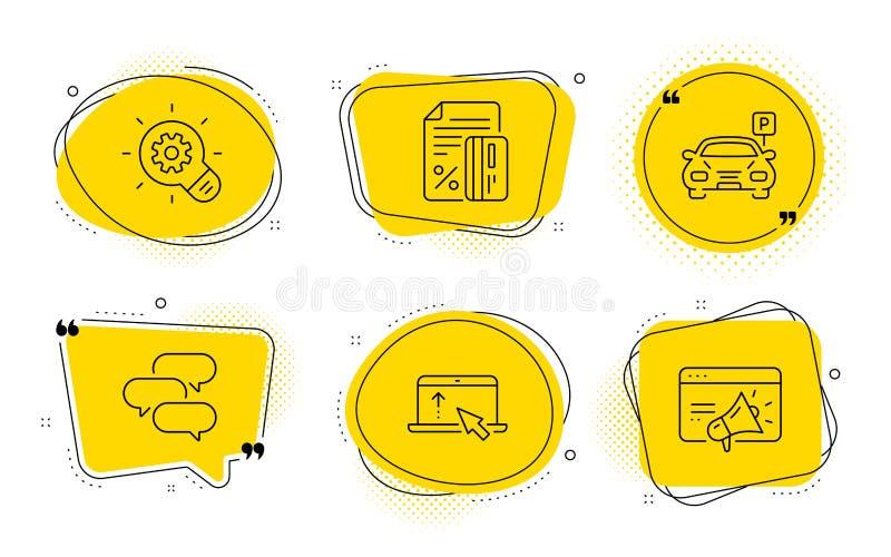Conversar bolha, Estacionar e ajustar ícones Cartões de crédito, placas de marketing CogWheel e Seo Vetor ilustração do vetor