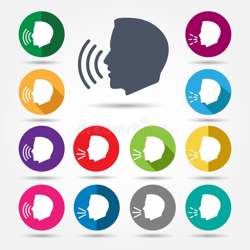 Conversar ou falar ícones ilustração stock