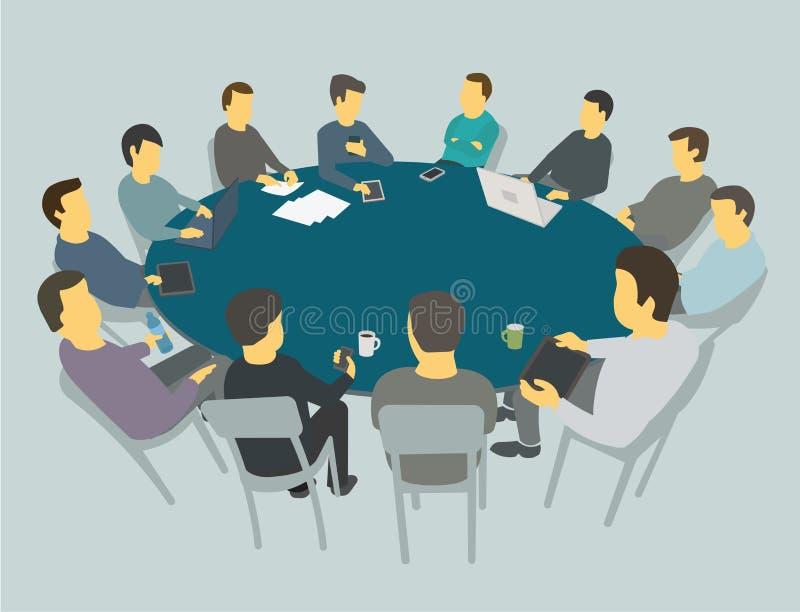 Conversas à mesa grandes redondas Executivos da equipe que encontram a conferência muitos povos ilustração royalty free