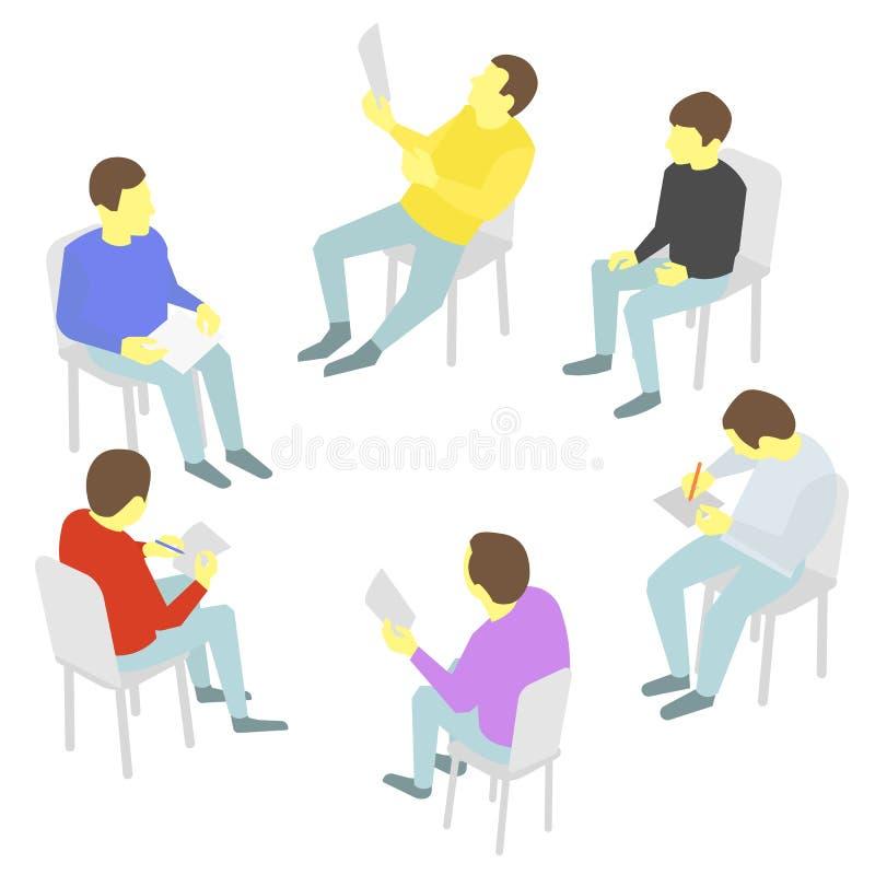 conversas Grupo de negócio Conferência da reunião da equipe de cinco povos ilustração royalty free