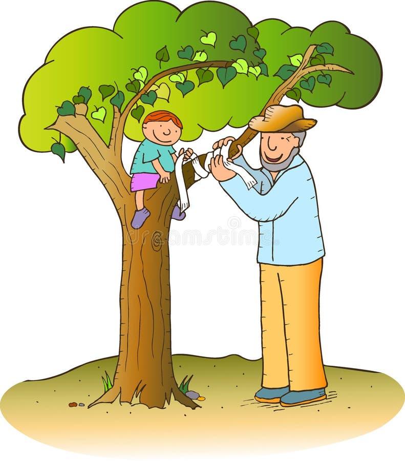 Conversation à l'arbre illustration de vecteur