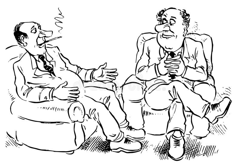 Conversation. Two managers sitting in armchairs discuss a bargain vector illustration