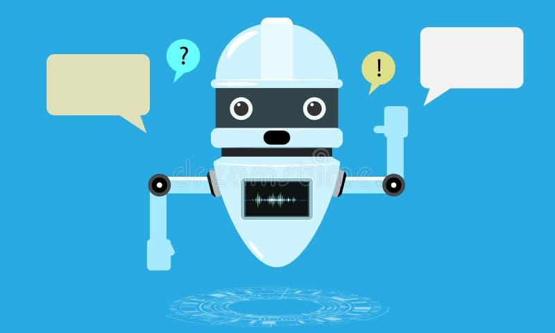 Conversation auxiliaire de chatbot futé, robot en ligne de support à la clientèle Illustration plate de vecteur de style illustration libre de droits