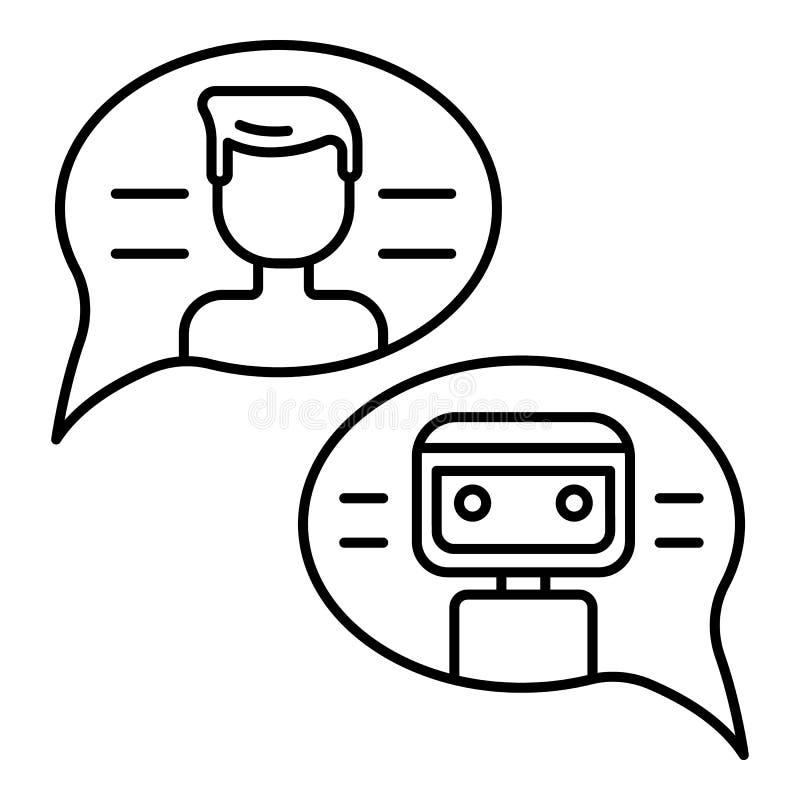 Conversation avec l'icône de bot de causerie, style d'ensemble illustration stock