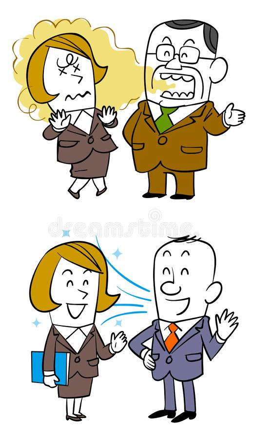 Conversation avec les employés féminins, les employés masculins plus âgés qui a la mauvaise haleine, et les employés masculins qu illustration stock