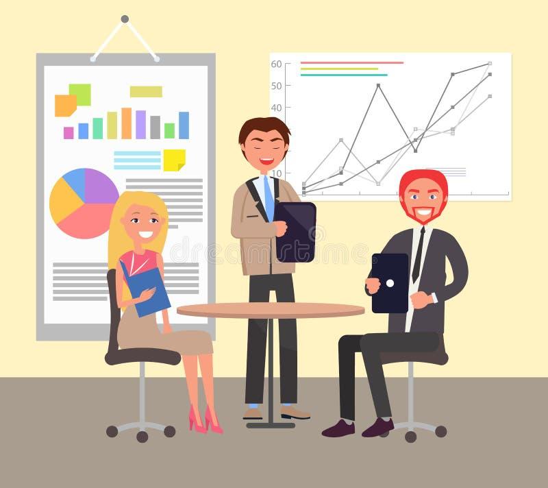 Conversation d'affaires en affiche colorée de bureau illustration de vecteur