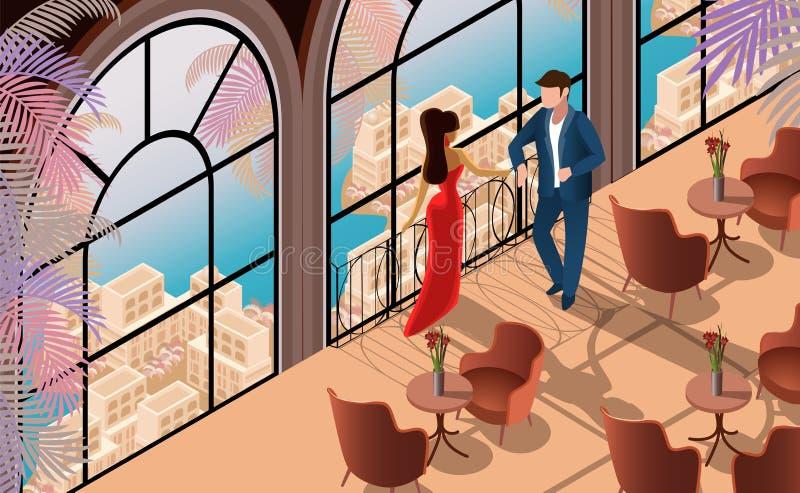 Conversation d'homme de femme dans l'illustration de restaurant illustration stock