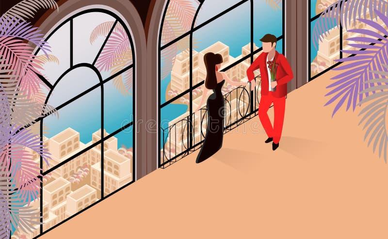 Conversation d'homme de femme dans l'illustration de restaurant illustration de vecteur