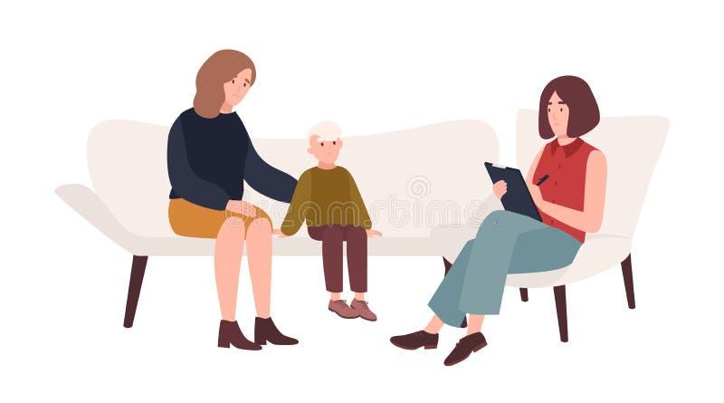 Conversation entre la mère, l'enfant et le psychologue féminin ou la psychothérapie de famille de psychothérapeute, psychothérape illustration stock