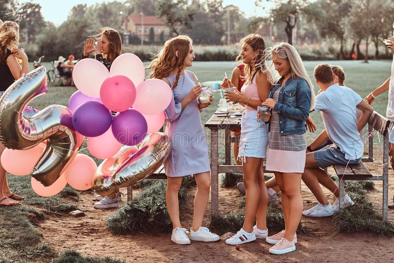 Conversation heureuse d'amies ensemble à la partie de pique-nique extérieure Scène de célébrer un anniversaire au parc extérieur images stock