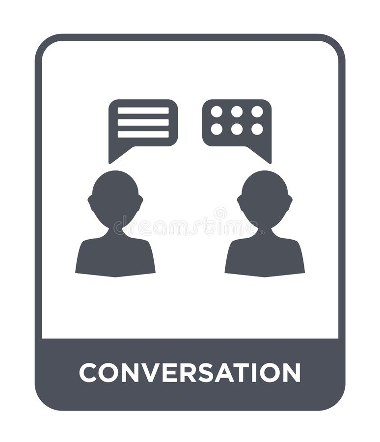 Conversation icon in trendy design style. conversation icon isolated on white background. conversation vector icon simple and. Modern flat symbol for web site stock illustration