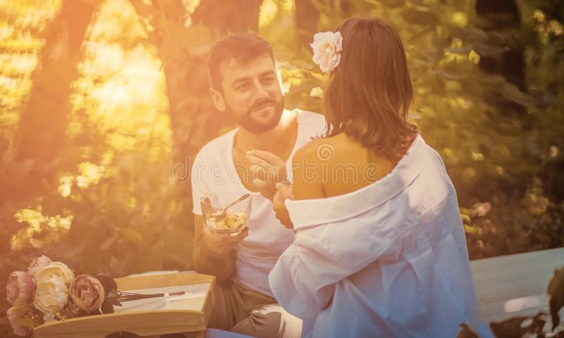 Conversation that takes his smile on his face stock images