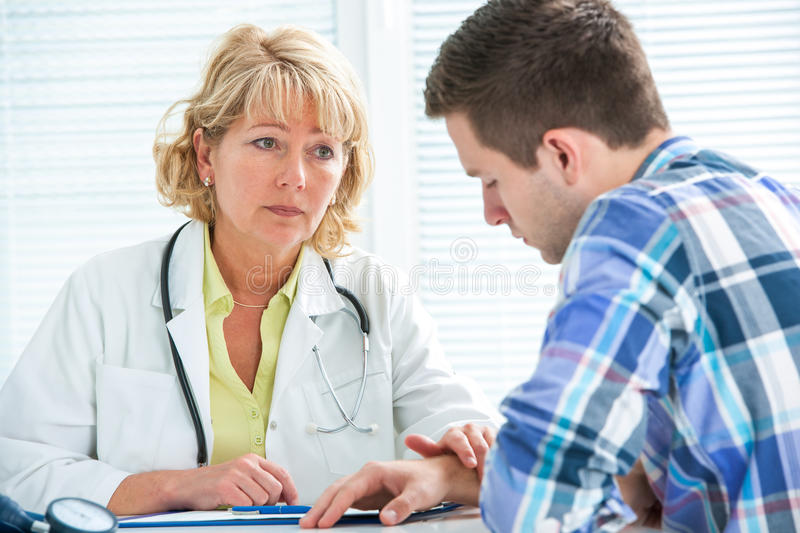 Conversation with a therapist stock images