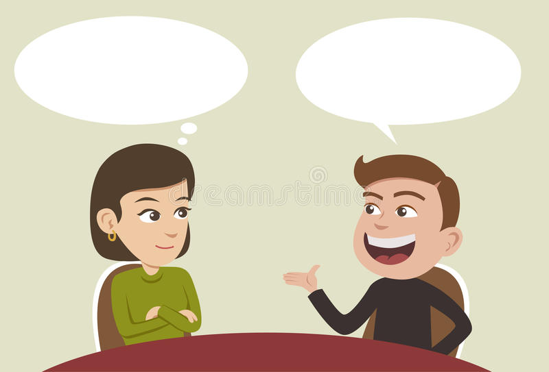 Conversation. Two business people having a conversation and man explaining something vector illustration