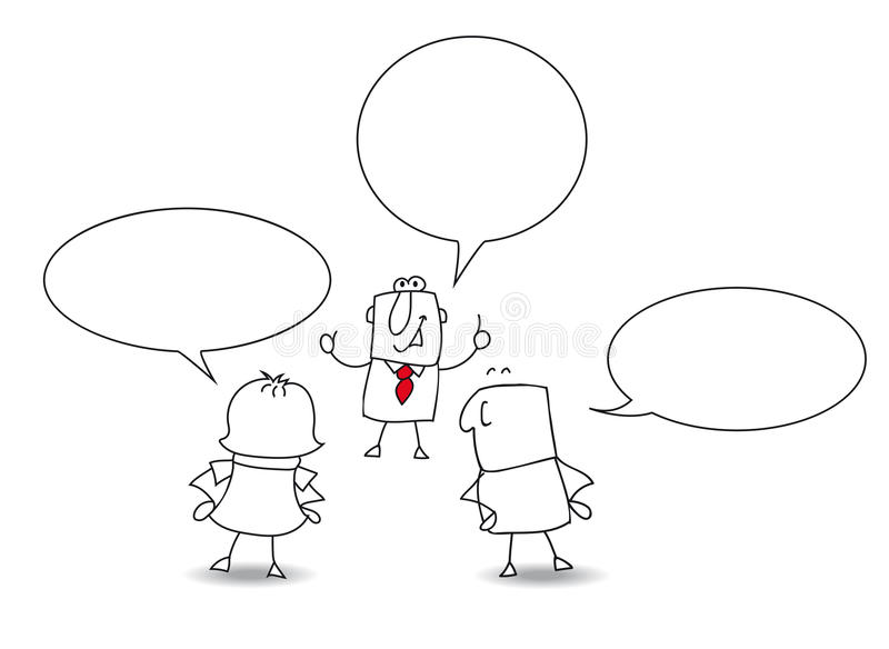 Conversation. Two businessmen and a businesswoman are speaking together vector illustration