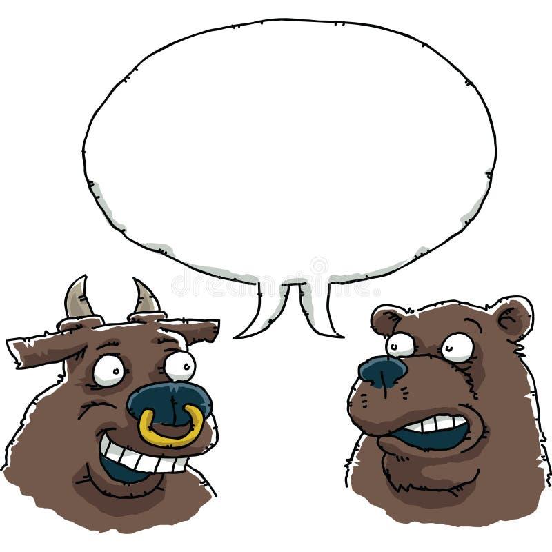 Conversazione dell'orso e del toro illustrazione di stock