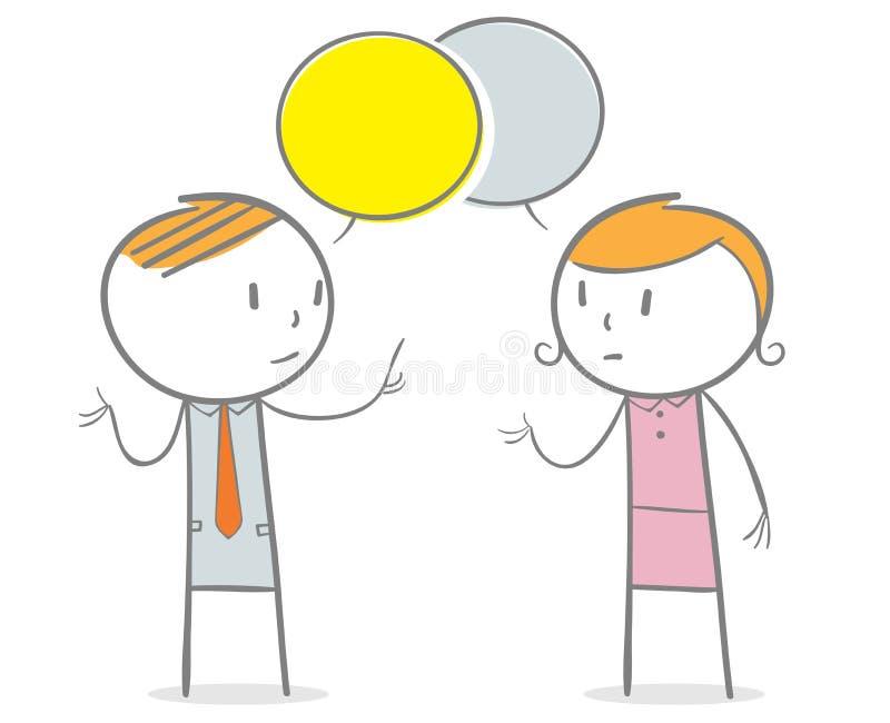 Conversazione della donna e dell'uomo illustrazione di stock