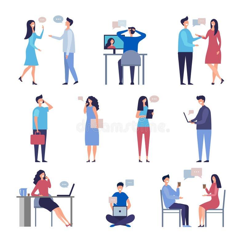 conversazione della gente Caratteri di chiacchierata di socializzazione di vettore della comunità di discussione di affari di web illustrazione di stock