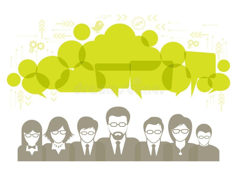 Conversazione della rete sociale ed illustrazione dei fumetti con le icone sociali di media illustrazione di stock