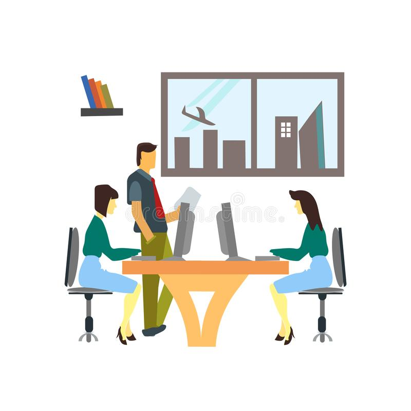 Conversazione di affari nel segno e nel simbolo di vettore di vettore dell'ufficio isolati su fondo bianco, conversazione di affa illustrazione vettoriale