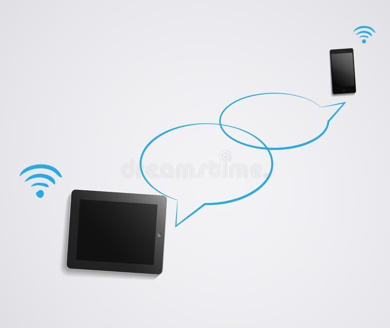 Conversazione di chiacchierata sullo smartphone e sulla compressa royalty illustrazione gratis