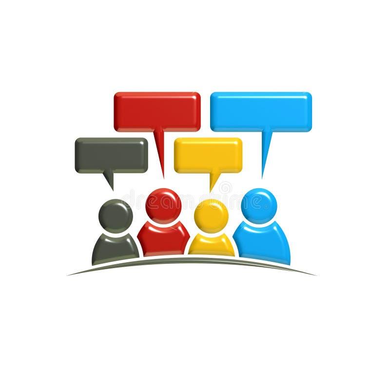 Conversazione e dibattito della gente illustrazione della rappresentazione 3d illustrazione vettoriale