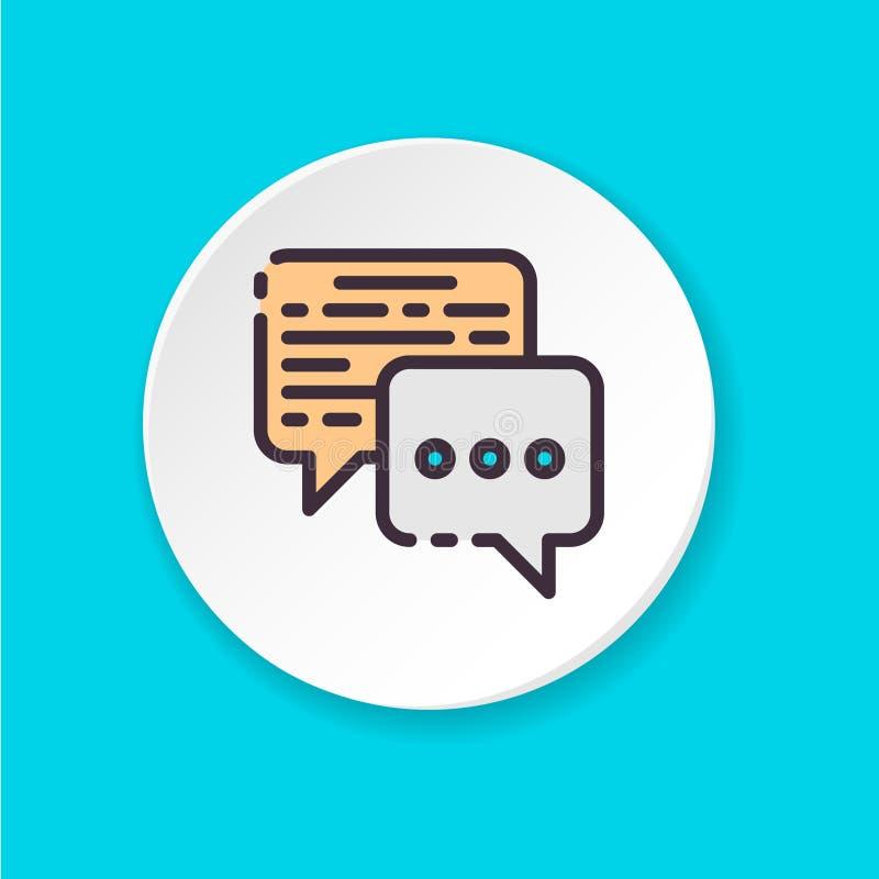 Conversazione piana di affari dell'icona di vettore Bottone per il web o il cellulare app illustrazione di stock