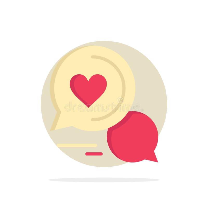 Converse a bolha, mensagem, Sms, bate-papo romântico, par conversam o ícone liso da cor do fundo abstrato do círculo ilustração stock