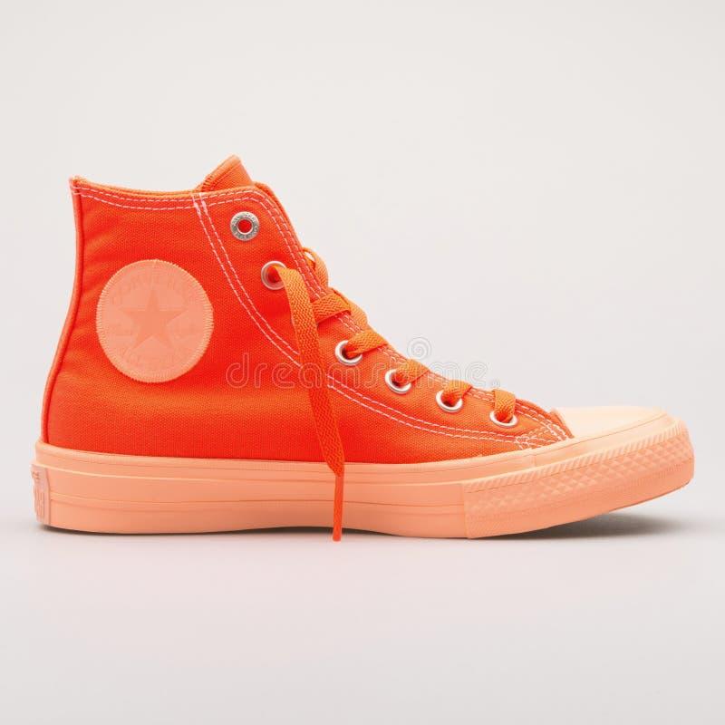 Converse Chuck Taylor All Star 2 High hyper orange sneaker. VIENNA, AUSTRIA - AUGUST 23, 2017: Converse Chuck Taylor All Star 2 High hyper orange sneaker on stock image