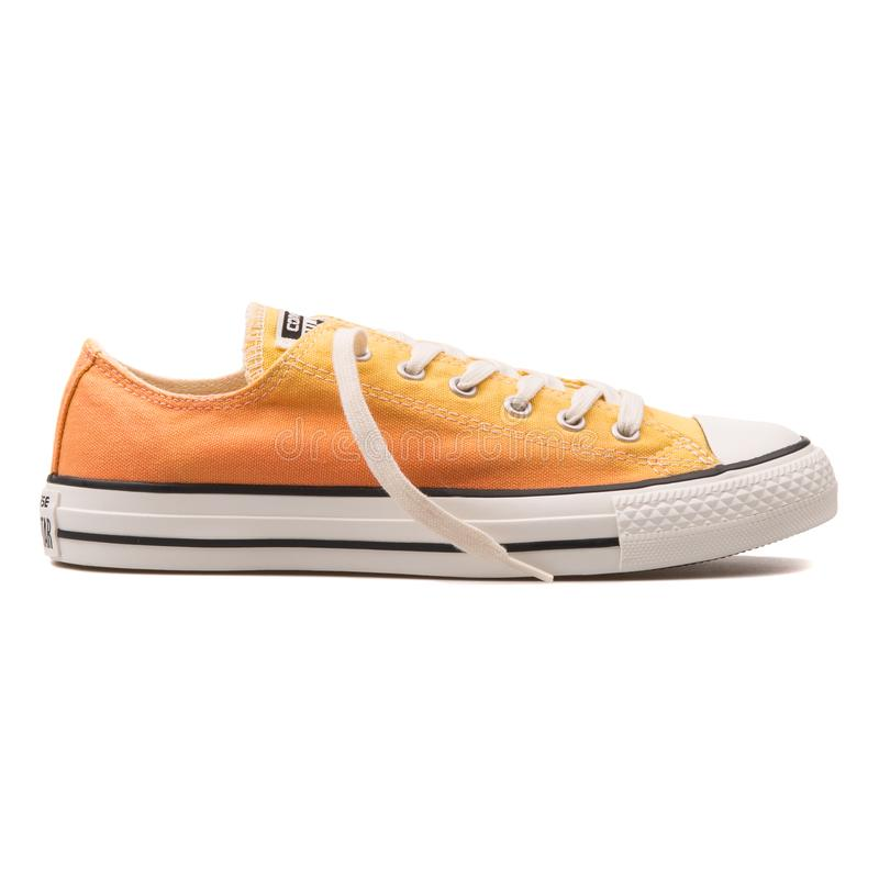 Converse Chuck Taylor All Star OX Cactus Bloss yellow and orange sneaker. VIENNA, AUSTRIA - AUGUST 10, 2017: Converse Chuck Taylor All Star OX Cactus Bloss stock image
