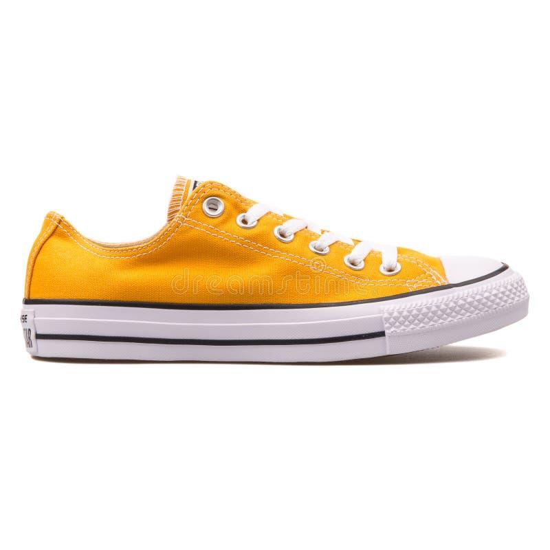Converse Chuck Taylor All Star OX Solar orange sneaker. VIENNA, AUSTRIA - AUGUST 10, 2017: Converse Chuck Taylor All Star OX Solar orange sneaker on white stock images