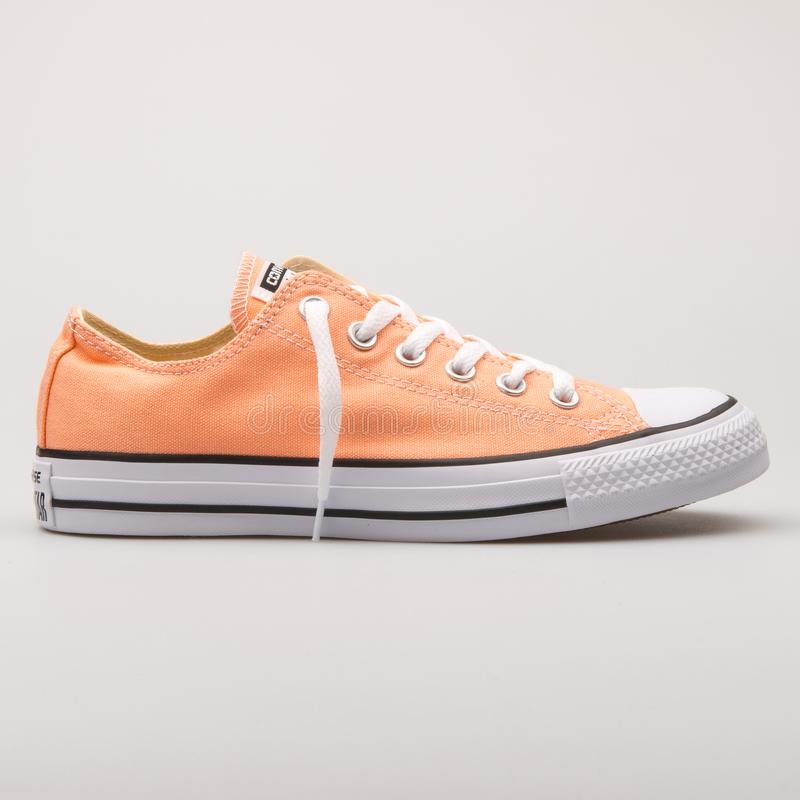 Converse Chuck Taylor All Star OX Sunset Glow orange sneaker. VIENNA, AUSTRIA - AUGUST 23, 2017: Converse Chuck Taylor All Star OX Sunset Glow orange sneaker on royalty free stock photography