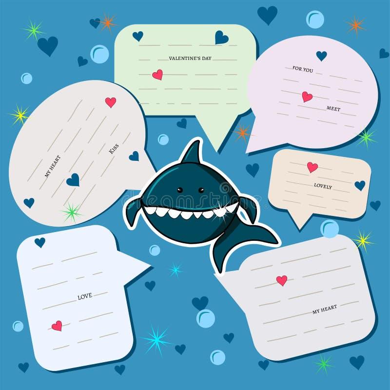 Converse a cor azul do fundo com um tubarão bonito no mar entre corações e bolhas Nuvens faladas com mensagens cartão do feriado  ilustração do vetor