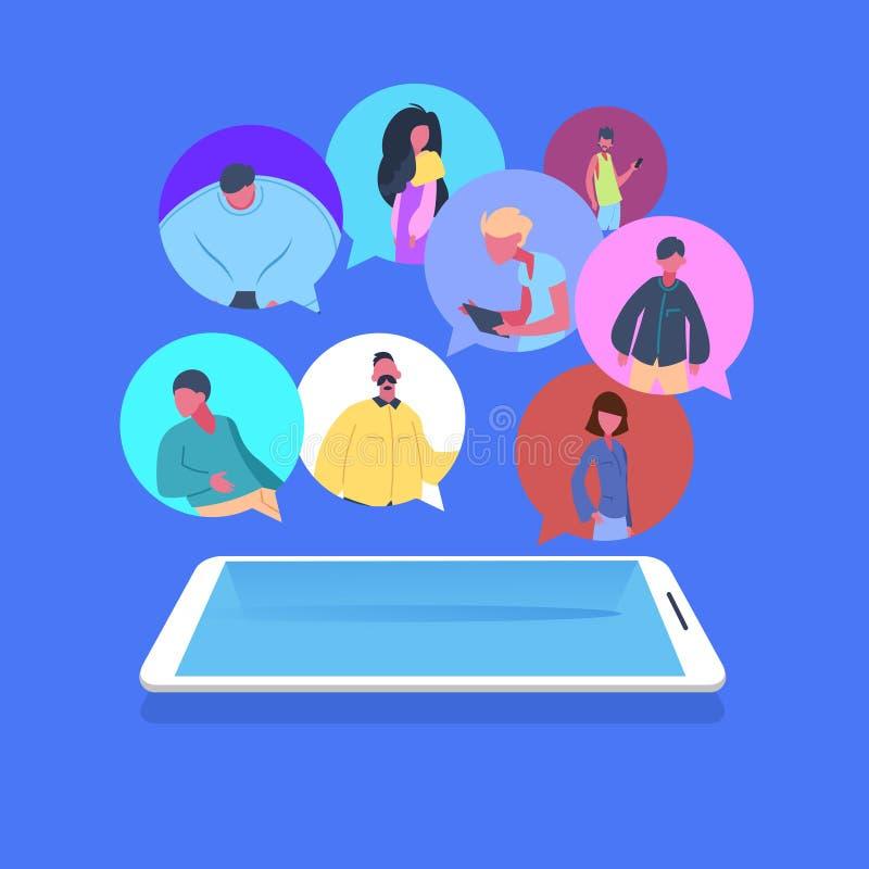 Converse das poses masculinas fêmeas da diversidade do personagem de banda desenhada do avatar de uma comunicação da aplicação da ilustração stock