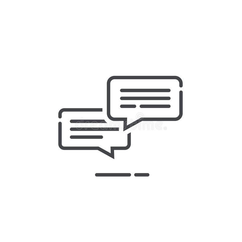 Converse a ilustração do vetor da notificação do ícone das mensagens, a linha bolhas da conversação dos sms do esboço com texto,  ilustração stock