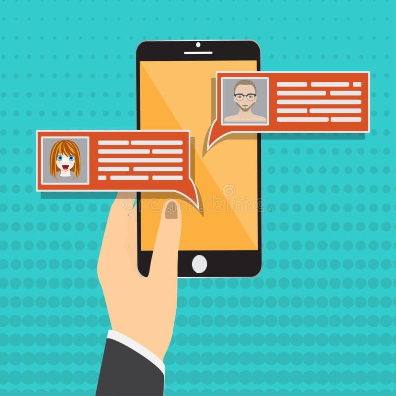 Converse a notificação das mensagens na ilustração do vetor do smartphone, bolhas lisas dos sms dos desenhos animados na tela do  ilustração royalty free