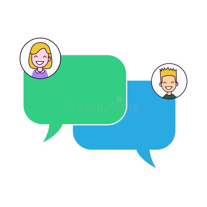 Converse a notificação das mensagens na ilustração do vetor do smartphone, bolhas lisas na tela do telefone celular, conversa dos ilustração stock