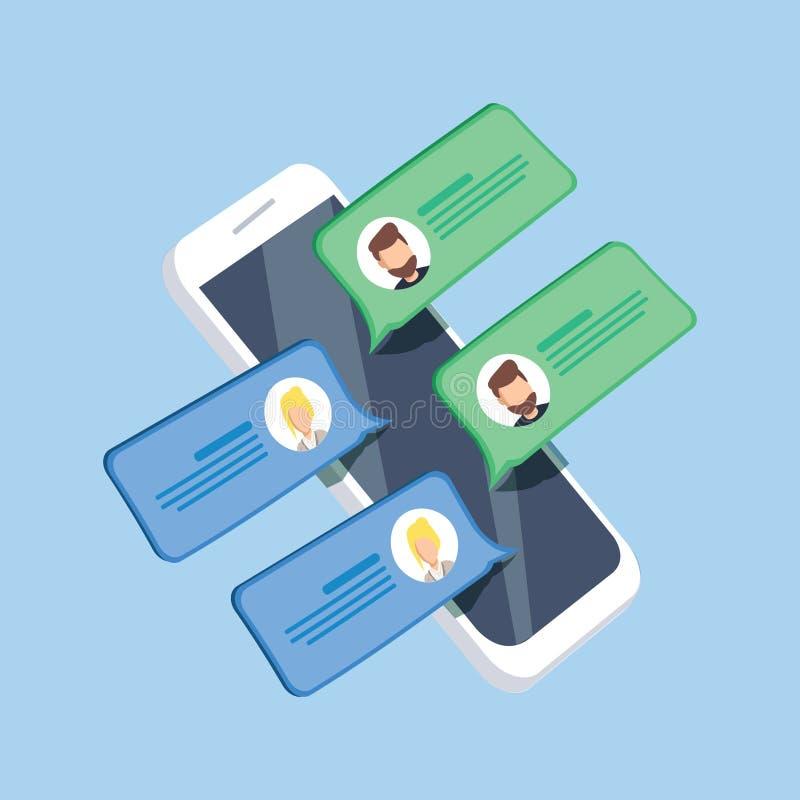 Converse a notificação das mensagens na ilustração do vetor do smartphone, fl ilustração do vetor