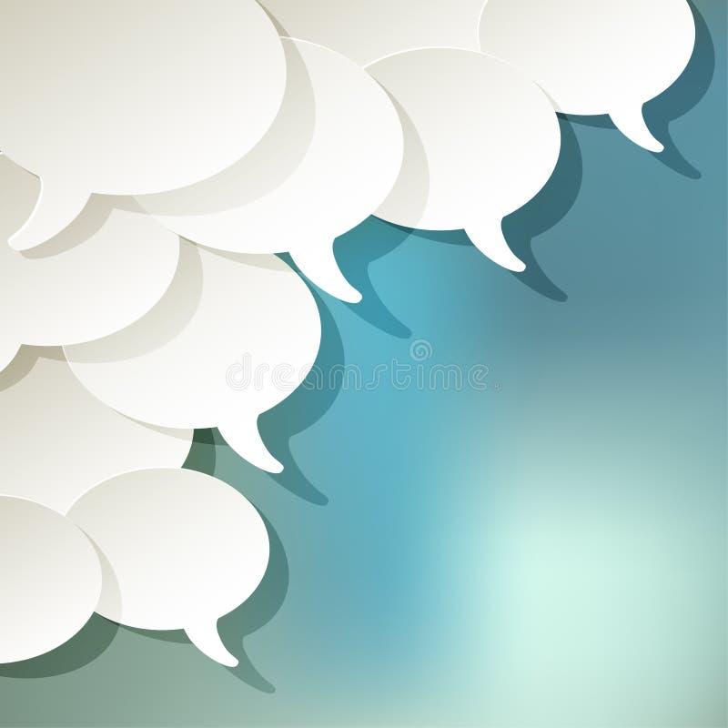 Converse o branco do vetor da elipse das bolhas do discurso no canto em um fundo azul do bokeh ilustração do vetor