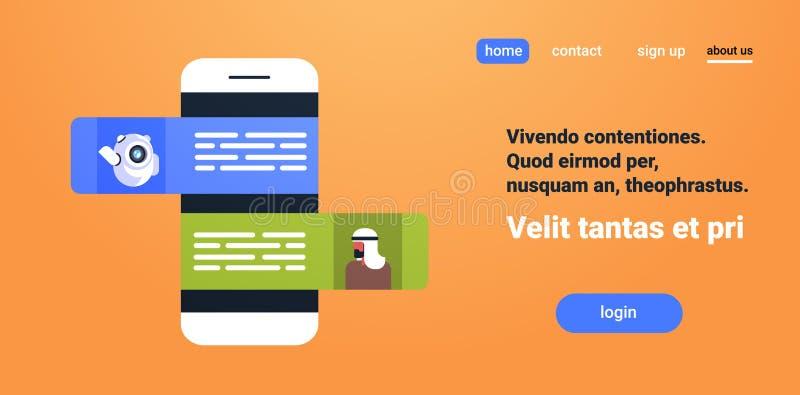 Converse o robô do bot que comunica o espaço liso da cópia do conceito móvel árabe da aplicação do mensageiro do homem de negócio ilustração do vetor
