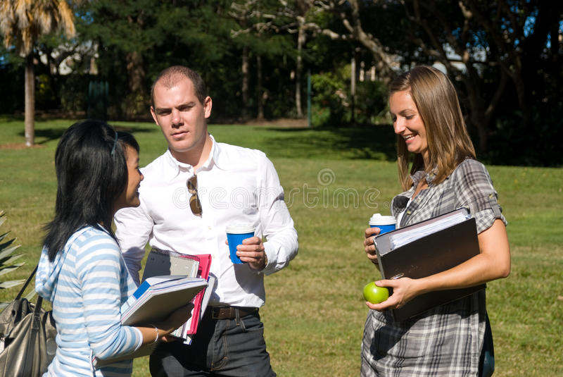 Download Conversing students stock image. Image of talking, trees - 13242375
