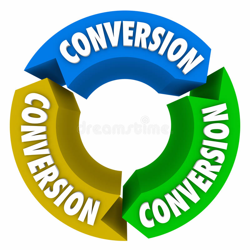 Conversion 3 Arrows Cycle Sales Process. Conversion word on three arrows in a circle or cycle to illustrate successful sales process, system or procedure vector illustration