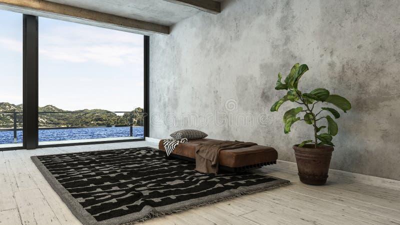 Conversion minimaliste de grenier avec le banc et la couverture illustration libre de droits